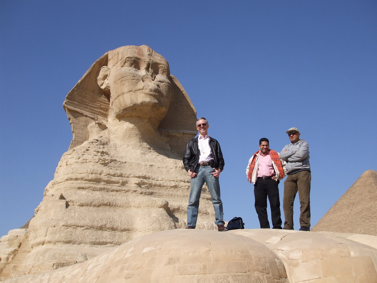 Tom and his team on the toe of The Sphinx